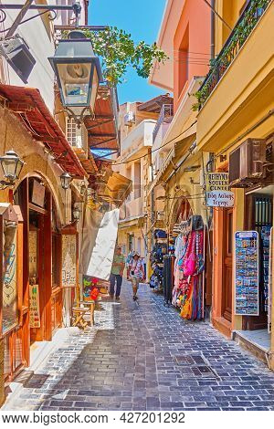 Rethymno, Crete Island, Greece - April 26, 2018: Shopping street with souvenir shops in Rethymno town