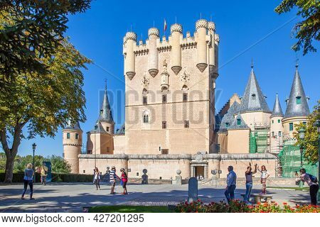 Segovia, Spain - September 21, 2015: Alcazar - Castle of Segovia