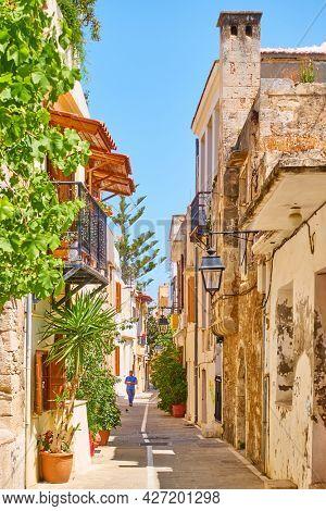 Rethimno, Crete, Greece - April 26, 2018: Old street in Rethimno town