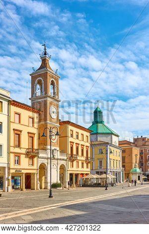 Rimini, Italy - February 25, 2020:  Piazza Tre Martiri  in Rimini (Square of the Three Martyrs), Emilia-Romagna