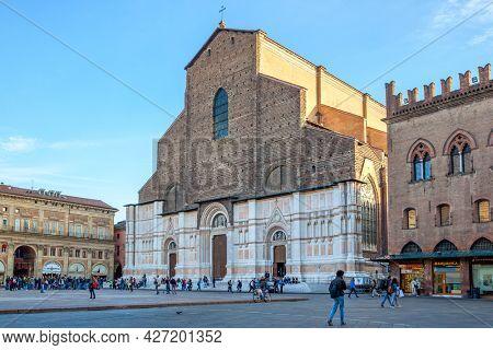 Bologna,  Italy - October 12, 2016: Piazza Maggiore in the city of Bologna with Basilica of San Petronio. Cityscape