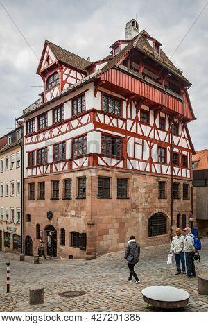 Nuremberg, Germany - May 17, 2016: Albrecht Durer's House in Nuremberg close up
