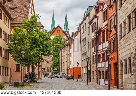 Nuremberg, Germany - May 17, 2016:  Street in the old town of Nuremberg. Cityscape
