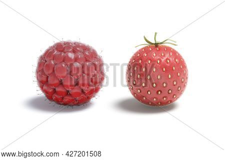 Blank Raspberry And Strawberry Ball Mockup, Isolated, 3d Rendering. Empty Red Summer Circular Berry