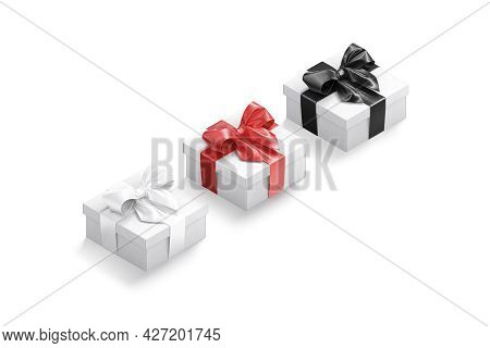 Blank White Gift Box With Gold, Red, Black Ribbon Mockup, 3d Rendering. Empty Unexpected Present Cas