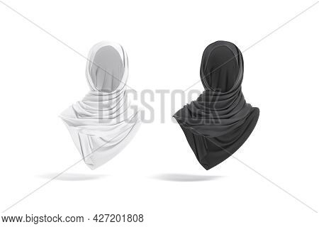 Blank Black And White Woman Muslim Hijab Mockup, Front View, 3d Rendering. Empty Arabic Or Islamic F