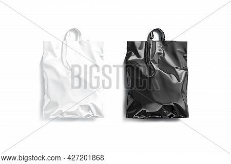 Blank Black And White Full Loop Handle Plastic Bag Mockup, 3d Endering. Empty Crumpled Poly Parcel M