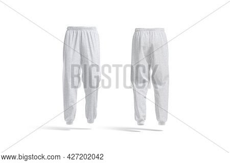 Blank Melange Sport Sweatpants Mockup, Front And Back View, 3d Rendering, Empty Casual Trackies For