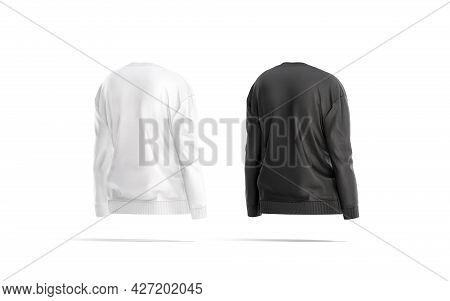 Blank Black And White Women Sweatshirt Mockup, Back Side View, 3d Rendering. Empty Female Jersey Tol
