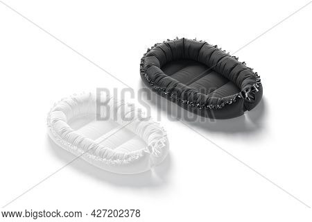Blank Black And White Babynest Lounger Mockup, Side View, 3d Rendering. Empty Textile Nest Or Portab