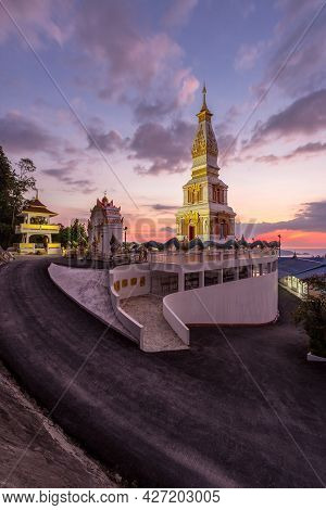 Doi Thep Nimit Monastery And Evening Light On The Top Of Patong Hill, Phuket, Thailand