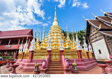 The Golden Pagoda Of Wat Pan Tao In Chiang Mai City, Thailand