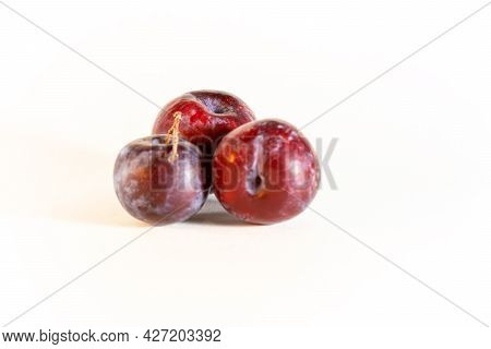 Three Plums, Ripe, Ripe, Blue, Sweet, Whole, Natural, With A Twig On A White Background