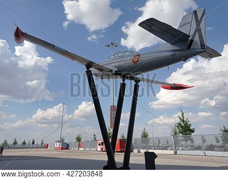 Madrid, Spain - July 12, 2021. Air Force Plane In The Mediations Of The Wanda Metropolitano Football