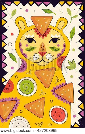 Mexican Fast Food Nachos Hand Drawn Poster For Mexico Cuisine Restaurant Menu. Eatery Advertising Ba