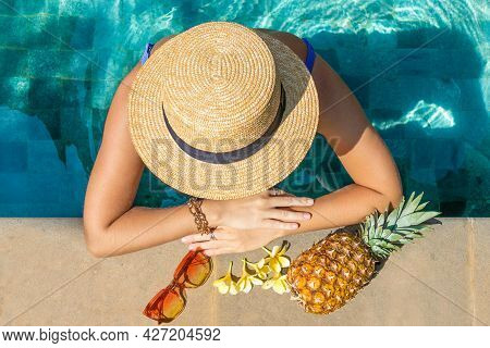 European Woman With Hat In The Pool, View From Above. Summer Concept.