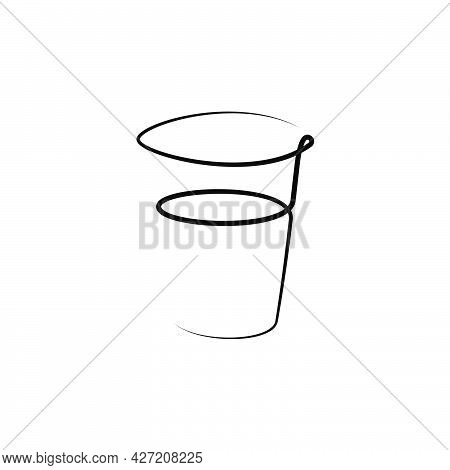 Vodka Wineglass With A Beverage On White Background. Graphic Arts Sketch Design. Black One Line Draw