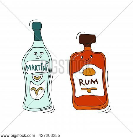 Martini And Rum With Smile On White Background. Cartoon Sketch Graphic Design. Doodle Style With Bla