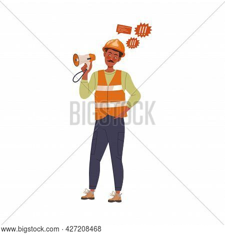 Dissatisfied Man Worker In Safety Vest Protesting Holding Megaphone Defending His Rights Vector Illu