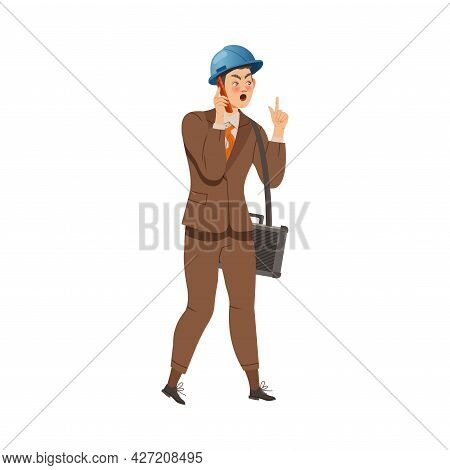 Dissatisfied Man Worker In Hard Hat And Suit Arguing With His Employer Speaking By Phone Defending H