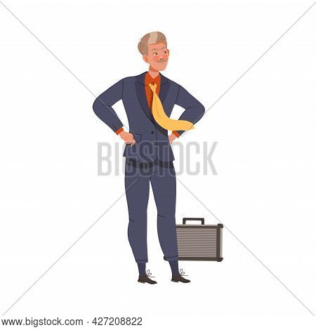 Moustached Man Chief In Formal Suit Standing With Arms Akimbo Vector Illustration