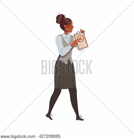 Dissatisfied Woman Employee Arguing With His Employer Defending Her Rights Vector Illustration