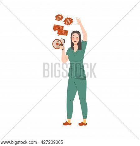 Dissatisfied Woman Medical Worker Protesting Holding Megaphone Defending Her Rights Vector Illustrat
