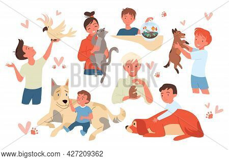 Cartoon Smiling Kid Characters Holding Cute Hamster And Parrot, Girl Boy Child Pet Owner Standing, S