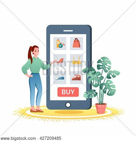 Online Shopping, Happy Shopper Woman Standing With Big Smartphone With Internet Shop