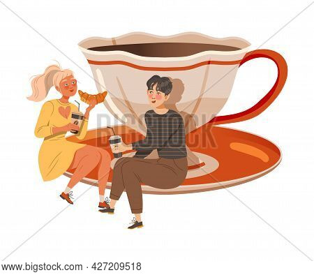 Man And Woman Coffee Lover Sitting On Huge Saucer With Cup And Drinking Hot Aromatic Beverage Vector