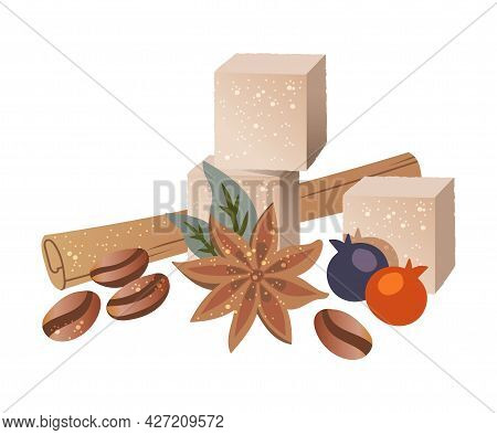Cinnamon Stick, Sugar Cube, Roasted Coffee Beans And Berry Vector Composition
