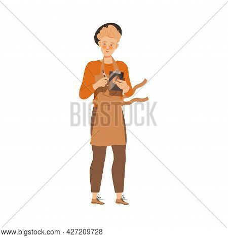 Man Barista In Hat Wearing Apron Taking Client Order Vector Illustration