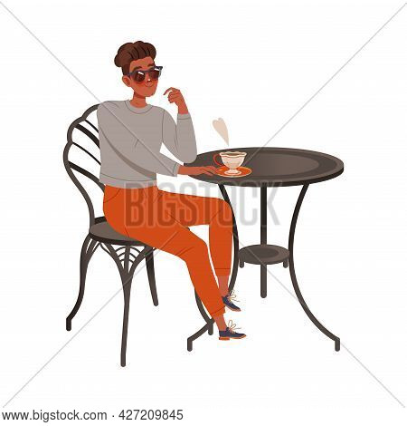 Man Coffee Lover In Sunglasses Sitting At Table Drinking Hot Aromatic Beverage Vector Illustration