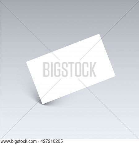 Falling White Business Card With Shadow. Blank Branding Rectangle Paper Card. Mockup Template Design