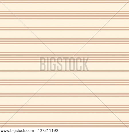 Vector Seamless Striped Pattern. Horizontal Lines Endless Texture. Repeatable Simple Beige Backgroun