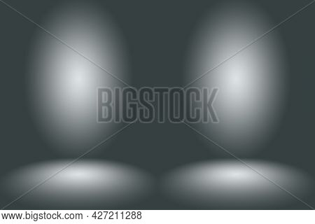Abstract Empty Dark White Grey Gradient With Black Solid Vignette Lighting Studio Wall And Floor Bac