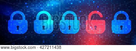 Abstract Technology Dark Background With Locks. Cyber Attack And Data Breach Concept