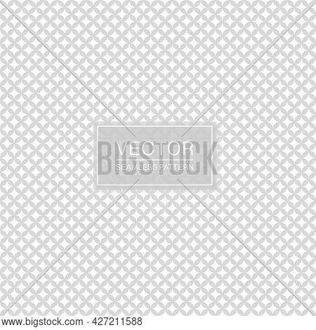 Stylish Seamless Ornamental Pattern. White And Gray Decorative Texture. Abstract Delicate Background