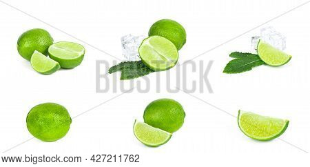 Fresh Green Juicy Limes, Lime Slices, Ice And Mint Leaves Set Isolated On White Background.