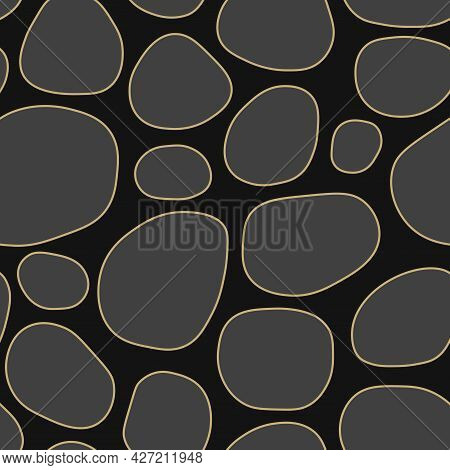 Vector Seamless Pattern With Abstract Shapes. Creative Dark Vector Background. Drawing Trendy Endles