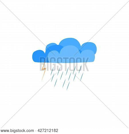 Rainfall Weather. Iightning, Clouds And Rain. Meteorology Symbol Thunder Stormy. Isolated Icon Bad W