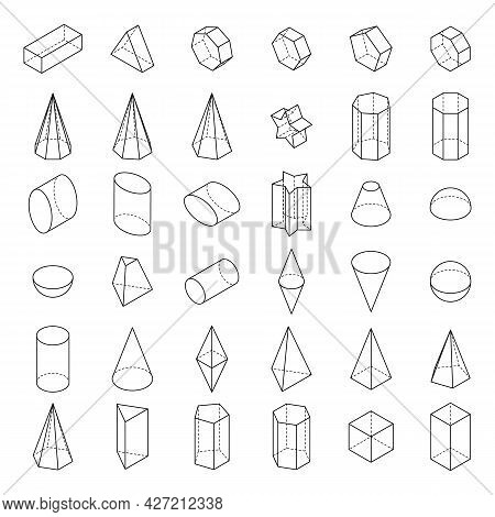 Set Of 3d Geometric Shapes. Basic Isometric Shapes. Linear Objects For Math, School And Science. Iso