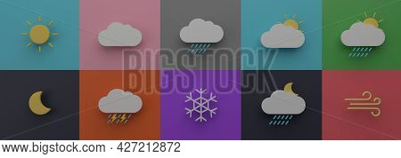 Weather Forecast Icon Set Natural Season Graphic For Banner 3d Rendering Illustration