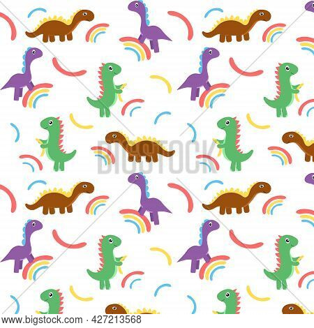 Multicolored Childish Pattern With Dinosaurs And Rainbow