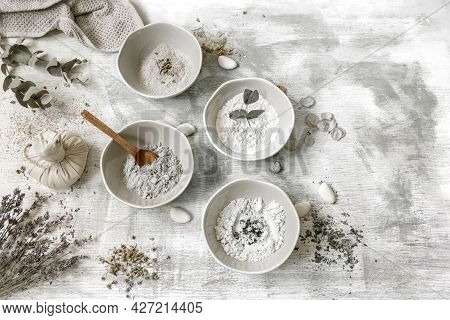 Flat Lay Composition With The Preparation Of A Face Mask From Clay, Natural Ingredients In Cosmetolo