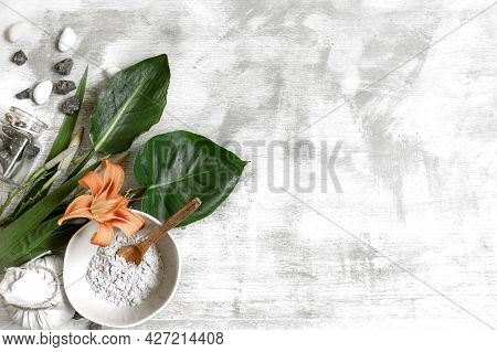 Background With Natural Ingredients Of A Powder Consistency For The Preparation Of A Mask For Skin C