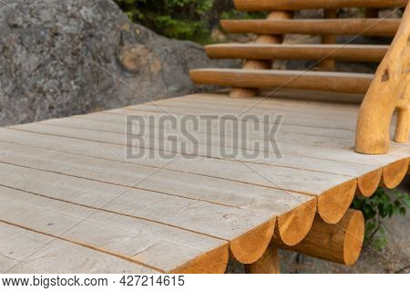 Wooden Pathway And Stairway Made Of Half-logs, Park Lane Details