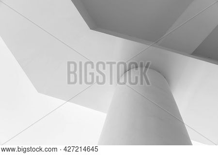 Abstract Minimal Architecture Background With White Concrete Exterior Details, Pillar And Ceiling