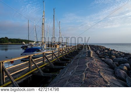 A Baltic Sea Marina In The Twilight. Picture From The Swedish Island Of Oland