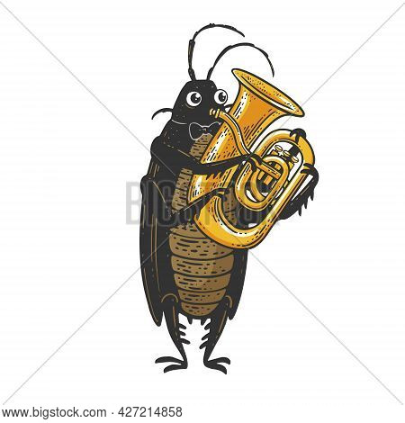 Cartoon Cockroach Orchestra Playing The Huge Brass Tube Trumpet Color Sketch Engraving Vector Illust